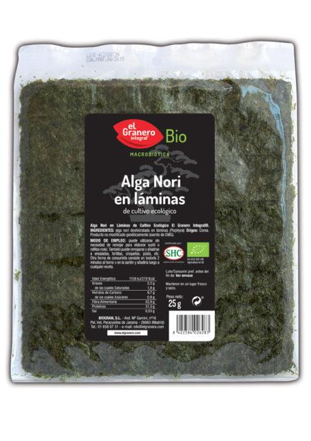 Alga Nori en Laminas 25g. Bio El Granero Integral